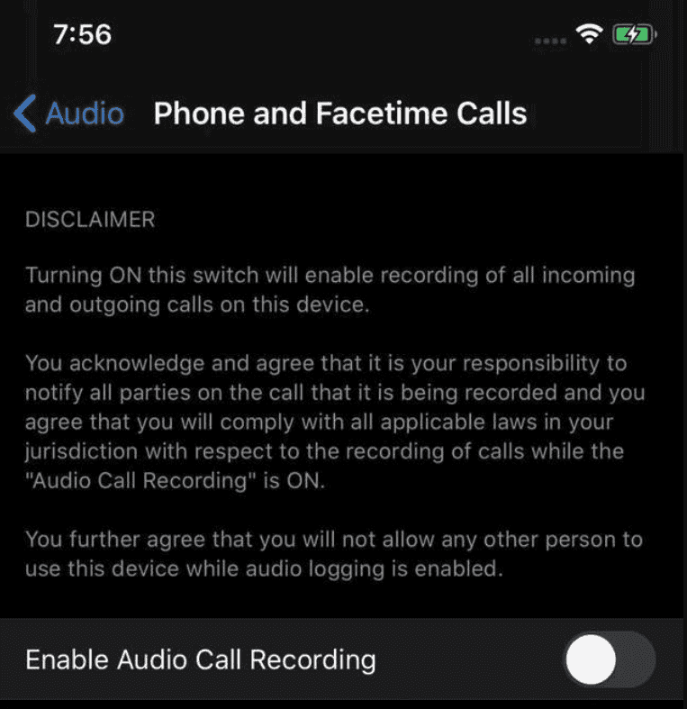 Apple iOS14 enregistrement appel