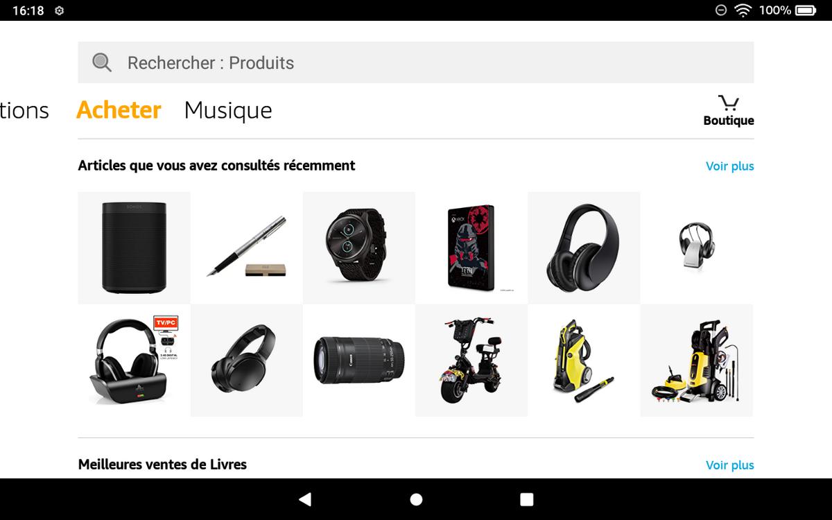 Amazon Fire HD 8 - Onglet Acheter