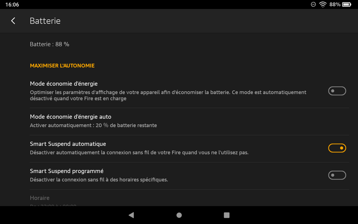 Amazon Fire HD 8 - Modes de batterie