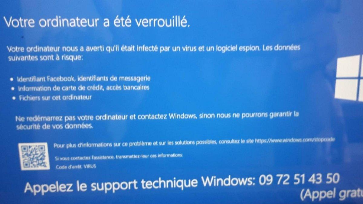 écran bleu Windows arnaque