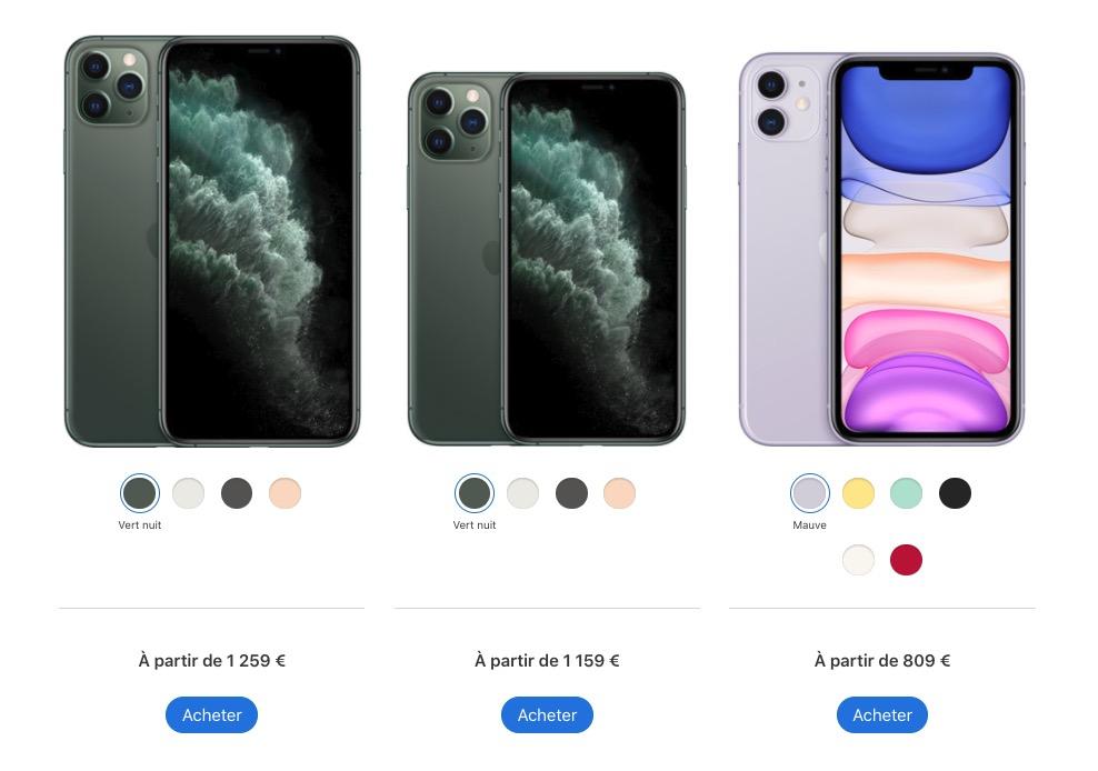 iPhone 11 iPhone 11 Pro iPhone 11 Pro Max prix © Capture d'écran Apple.com