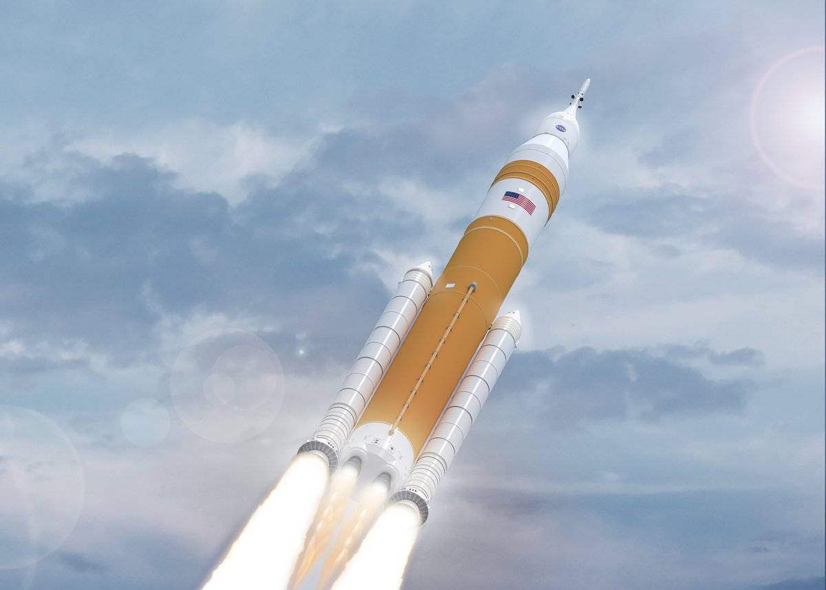 SLS Artemis 1 décollage vue d'artiste © NASA