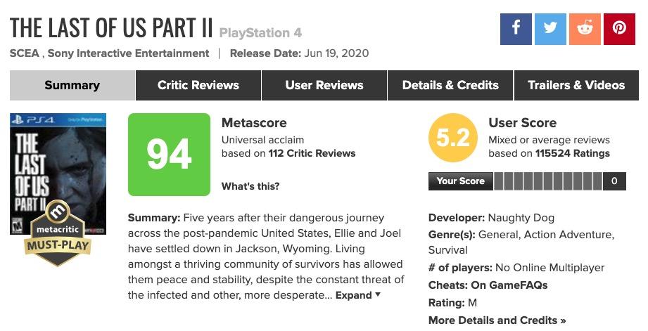 The Last of Us Part II metacritic © © Metacritic