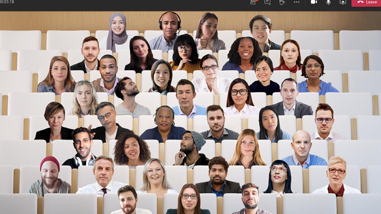 """Microsoft Teams réinvente le travail d'équipe en visio, avec le monde """"Together"""""""