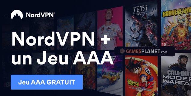 NordVPN : un jeu AAA offert avec l'abonnement à 3,11€/mois sur 3 ans