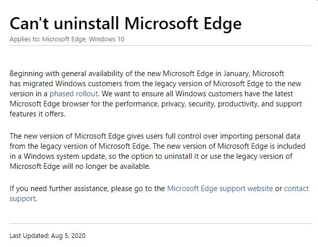 Microsoft Edge FAQ désinstallation