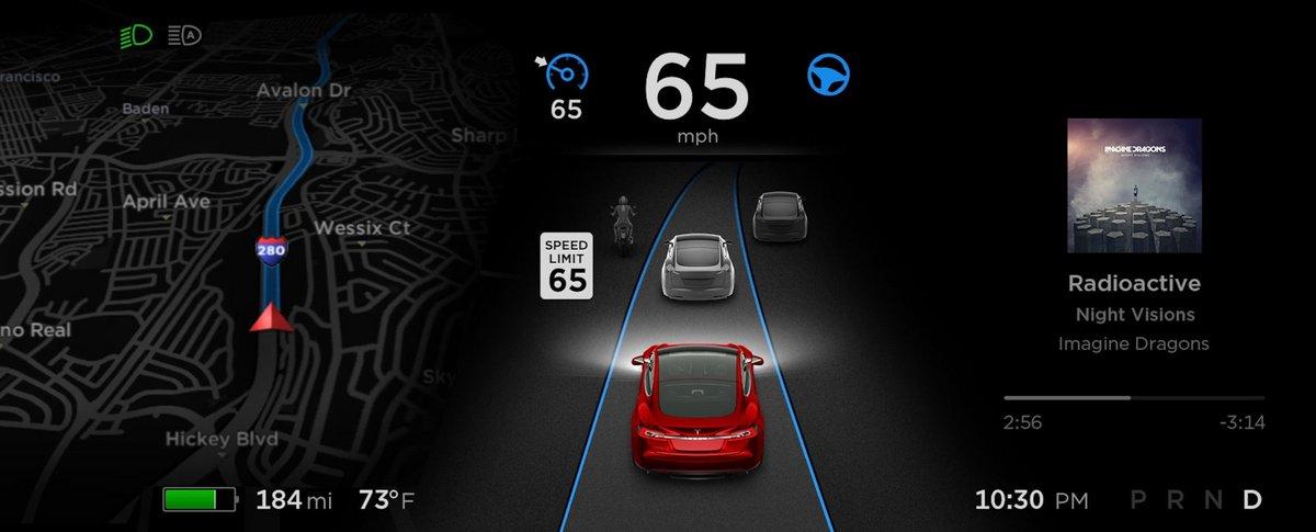 Tesla lecture panneaux vitesse