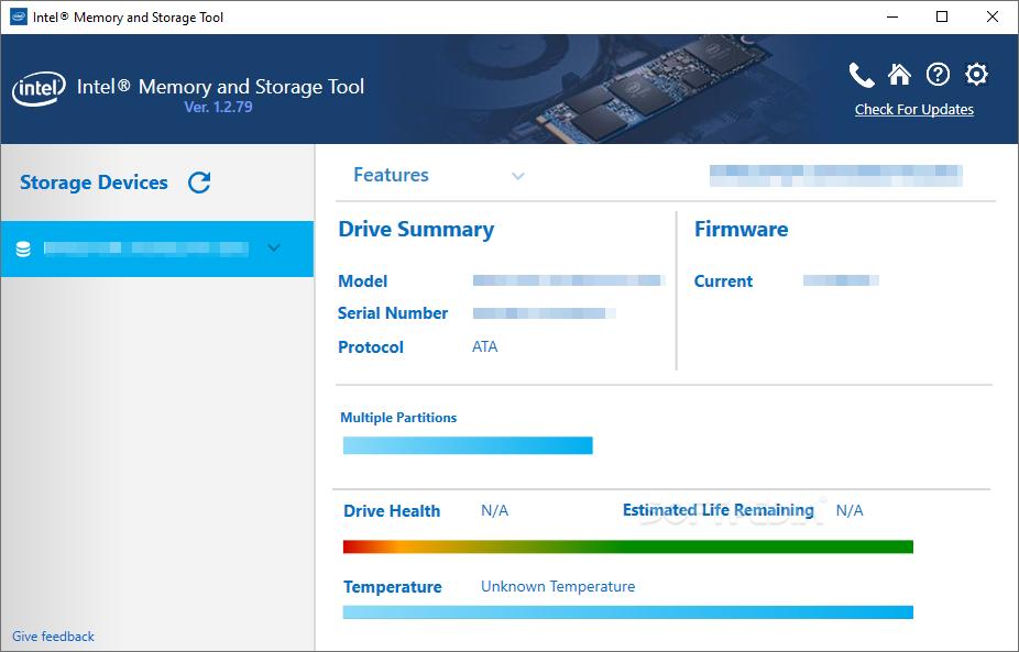Intel Memory and Storage Tool © Intel