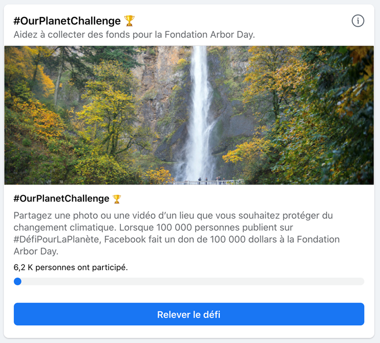 Facebook challenge climat