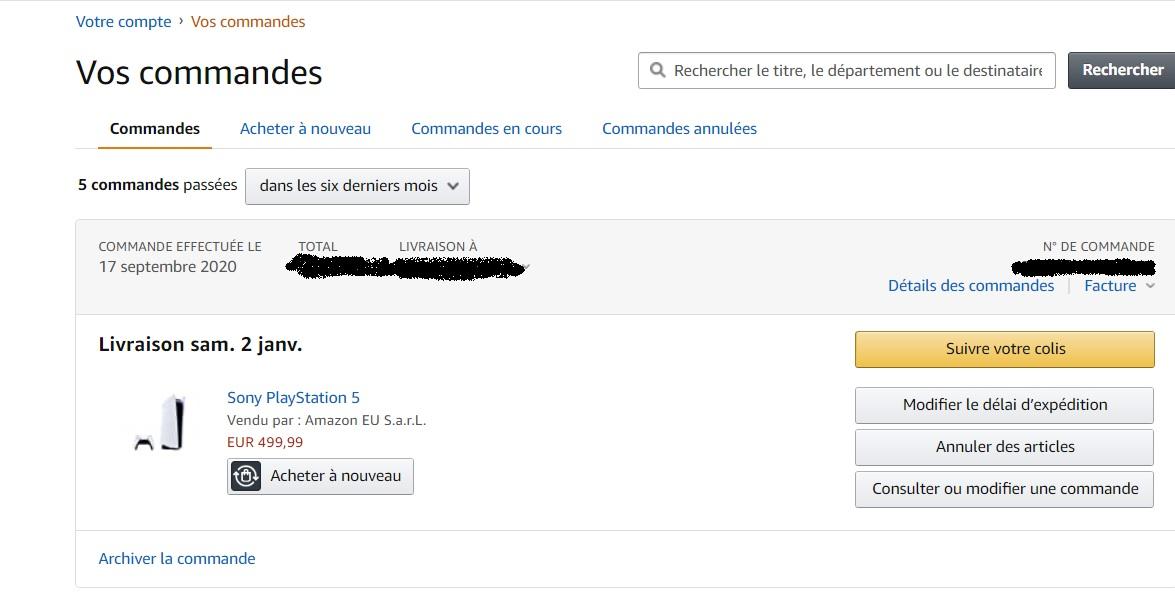 PS5 précommande Amazon