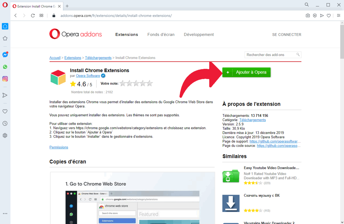 Extensions Chrome pour Opera