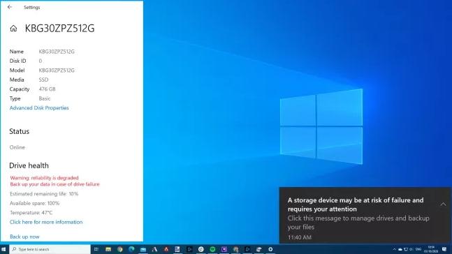Windows 10 Stockage © Microsoft