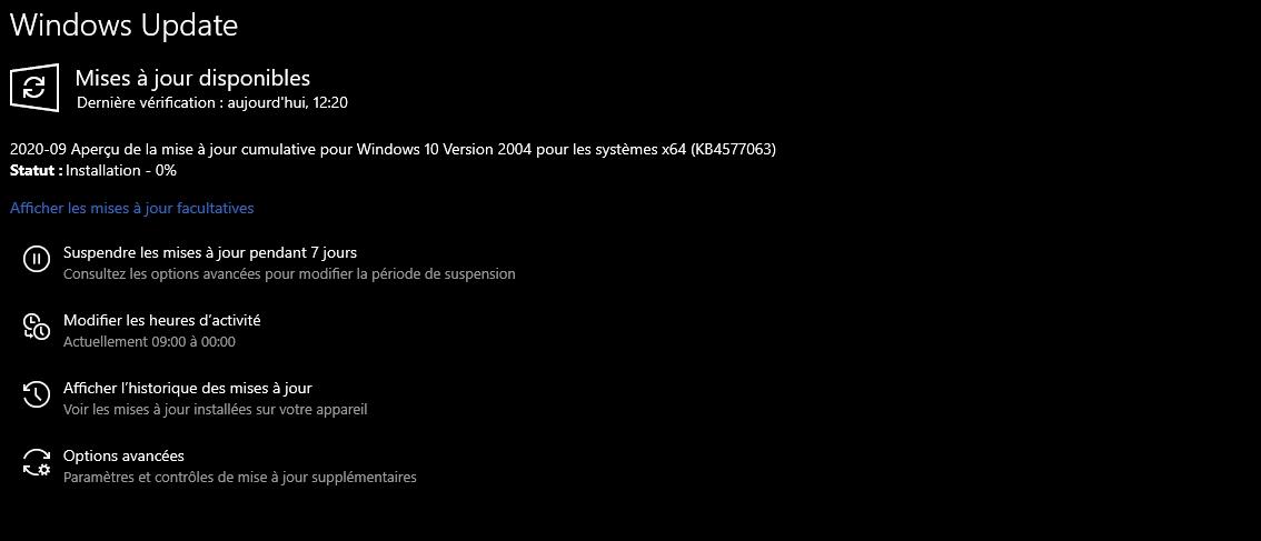 Windows 10 mise à jour © Capture d'écran