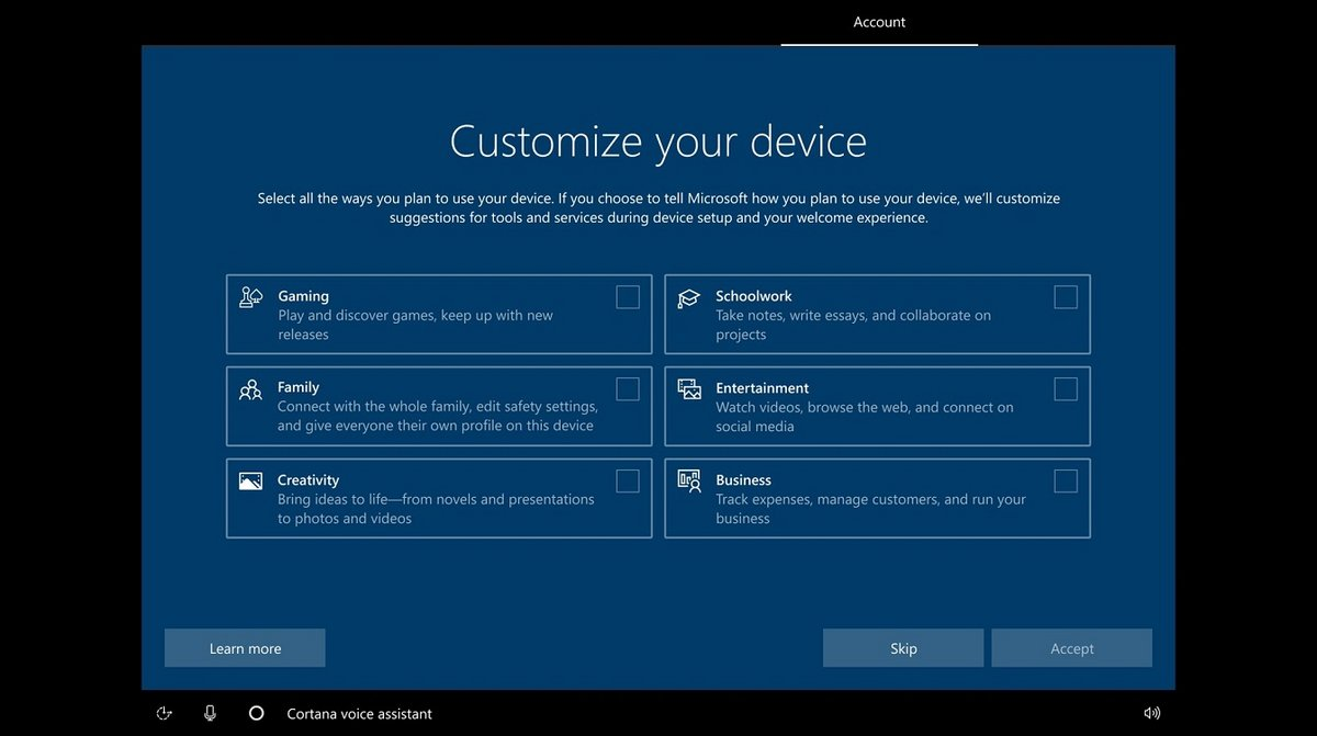 Windows 10 OOBE © Microsoft