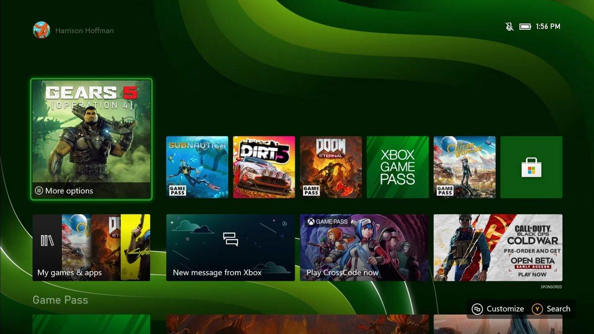 Xbox Series menu