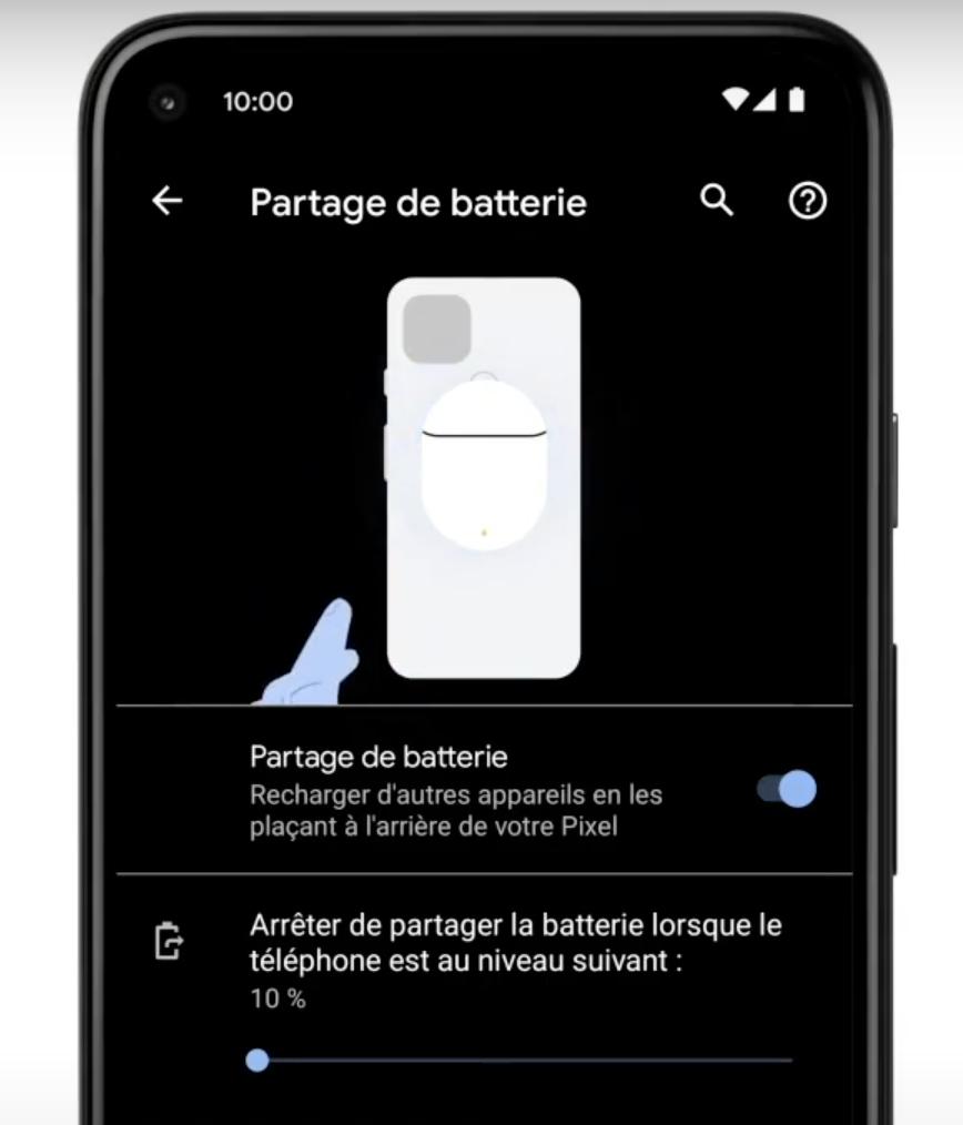 pixel 5 partage batterie