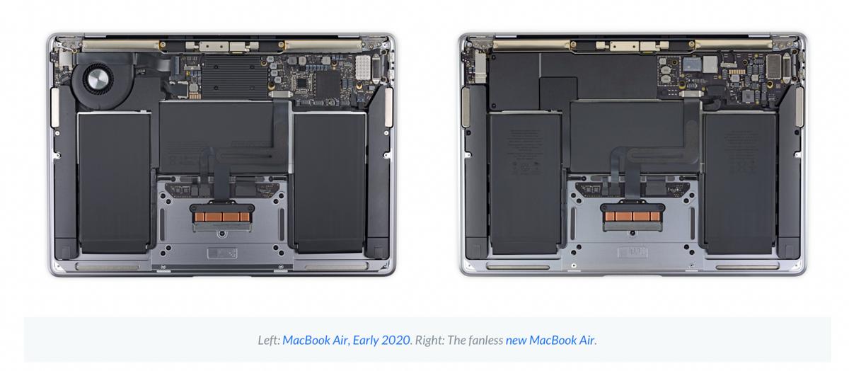 MacBook Air M1 vs MacBook Air 2020 © ©iFixit