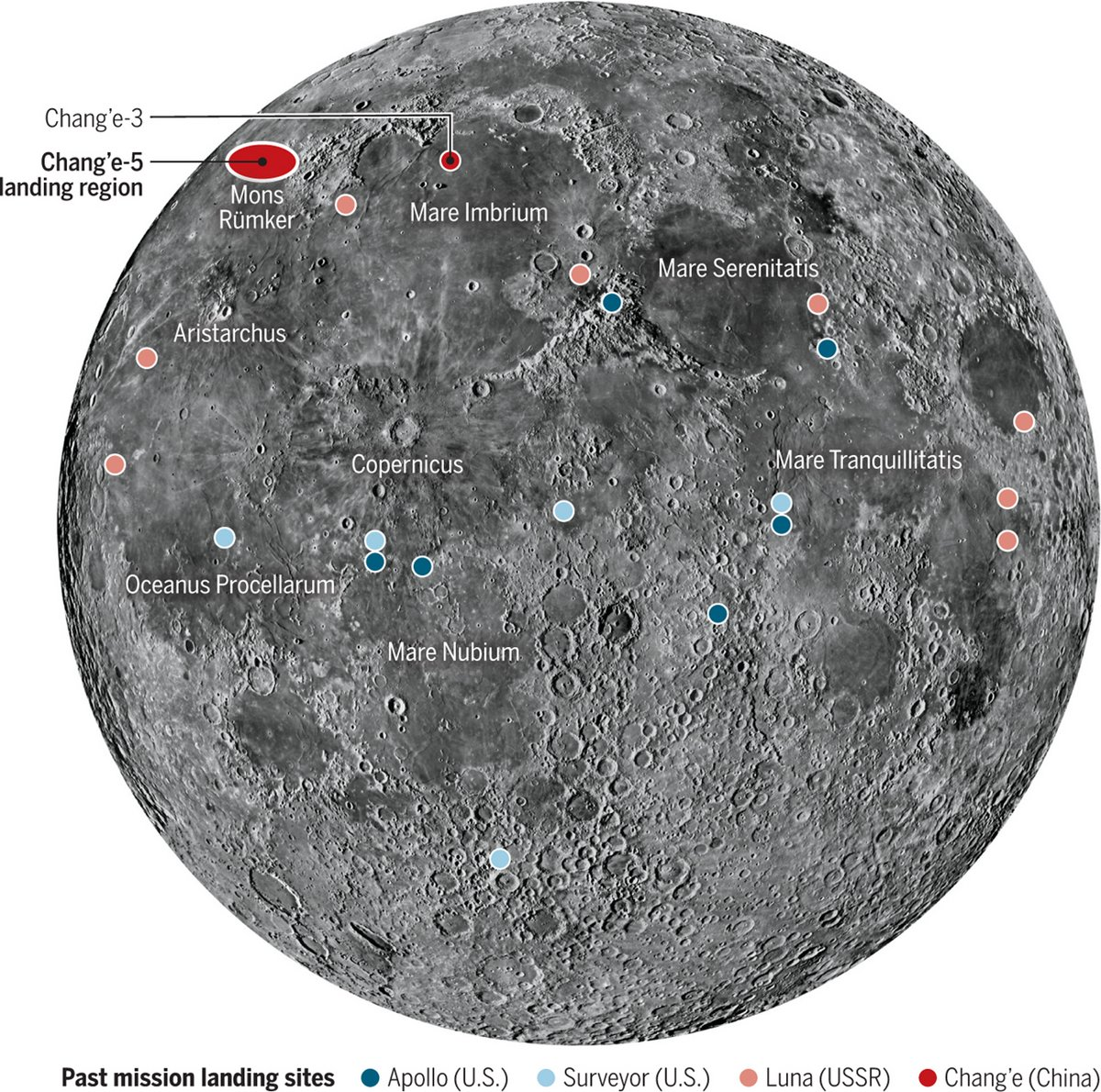 Chang'E 5 zone atterrissage lunaire © CNSA/CLEP/Science mag