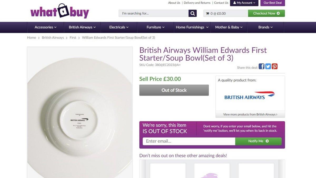 British Airways assiette © British Airways