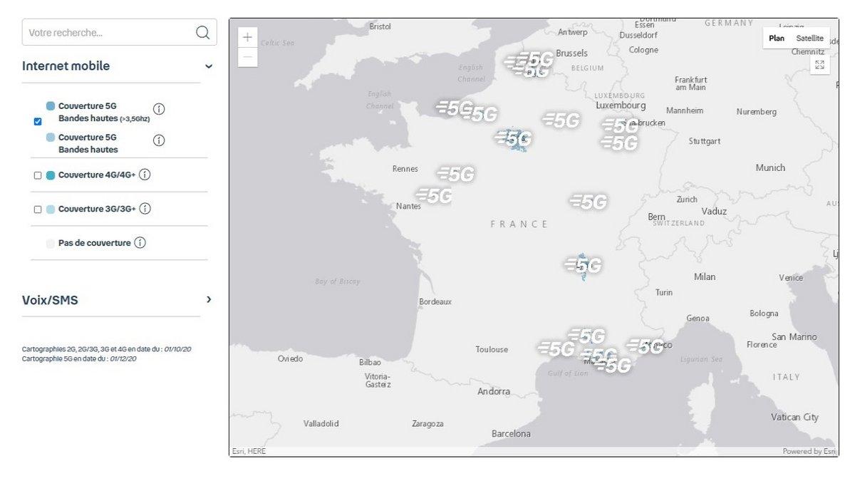 Carte couverture 5G Bouygues-Telecom