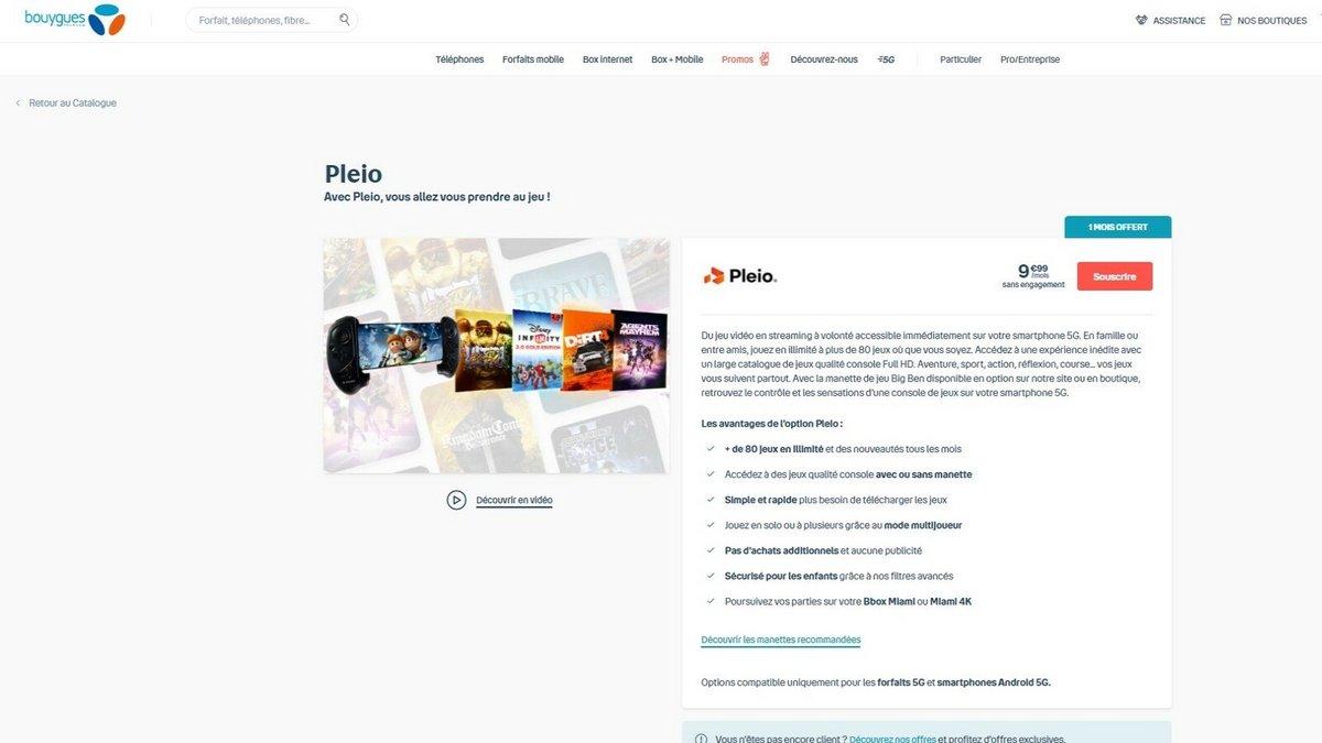 Bouygues Telecom Pleio © Capture d'écran