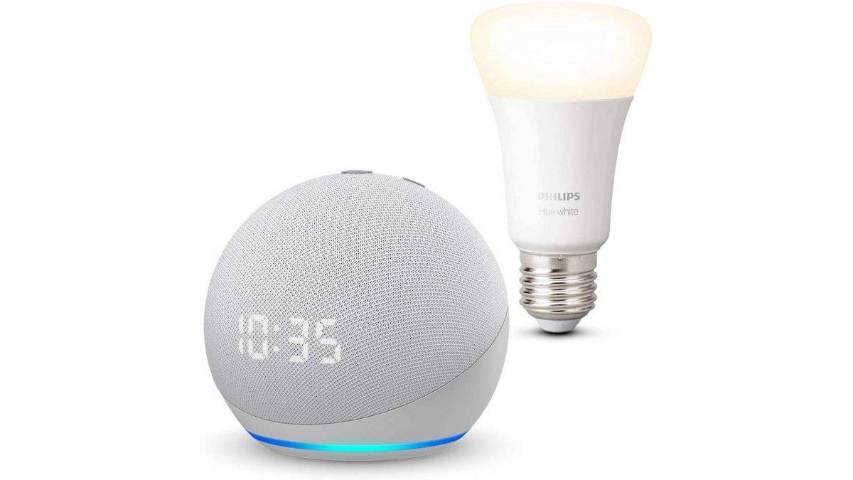 Echo Dot 4 avec ampoule Philips Hue