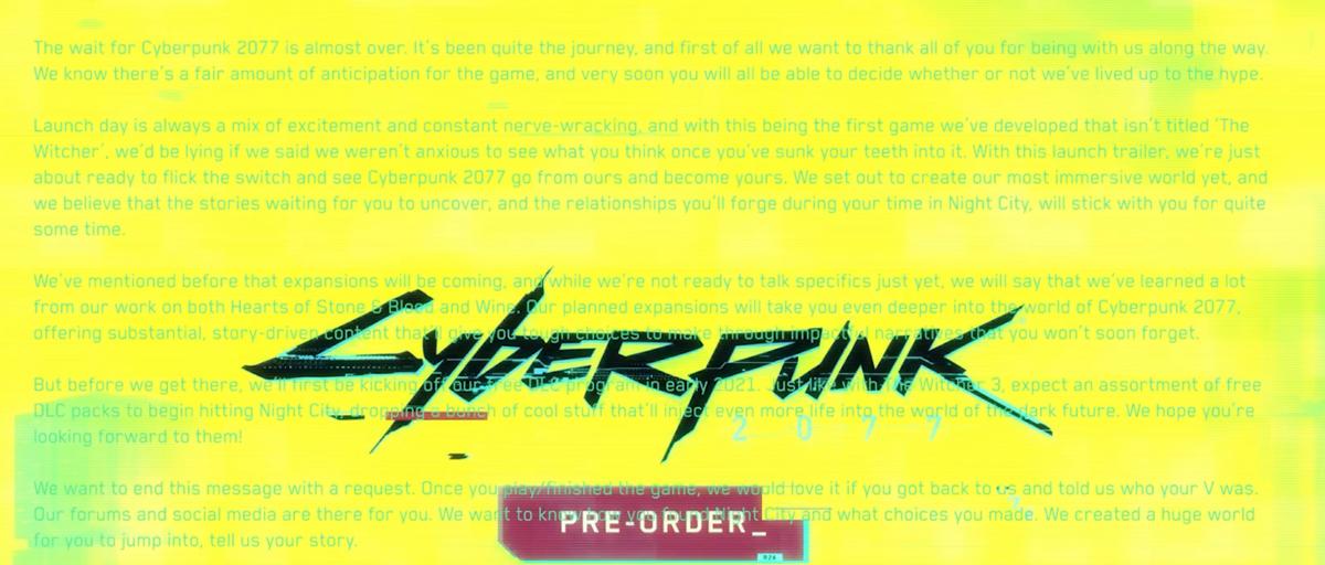 Cyberpunk 2077 Message © CD Projekt Red
