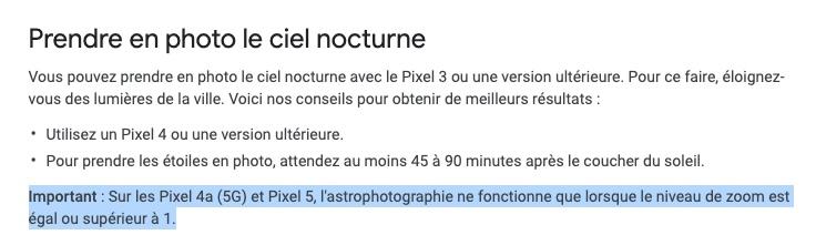 Google Support Pixel astrophoto © Capture d'écran