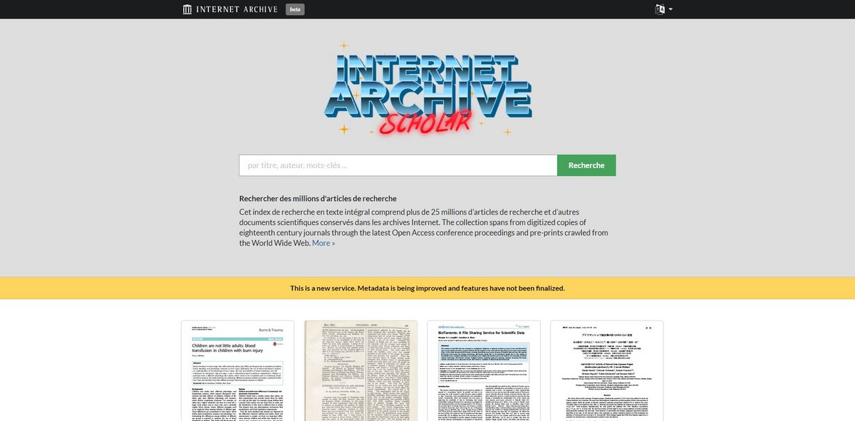 Internet Archive Scholar © Capture d'écran Clubic