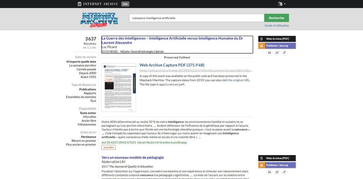Internet Archive Scholar recherche