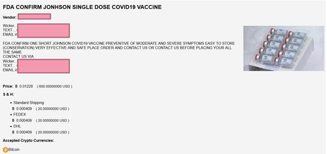 vaccin Johnson & Johnson contrefait © Check Point Research