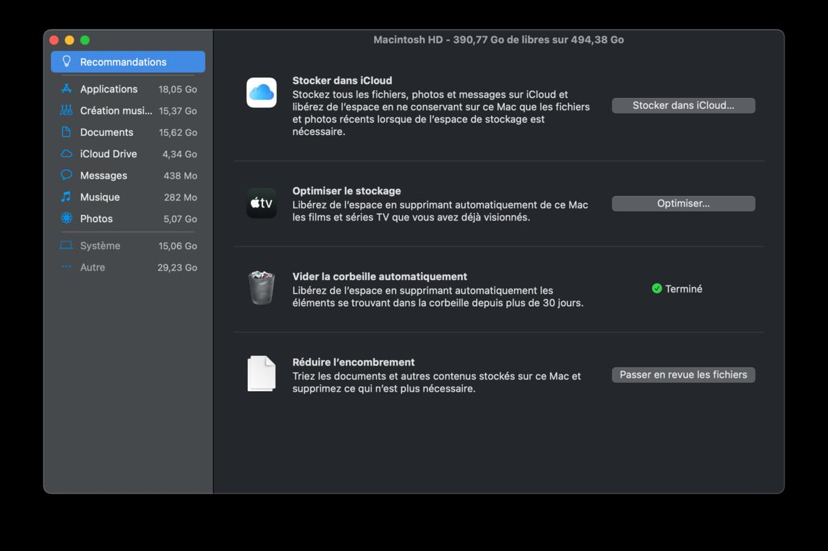macOS gérer stockage