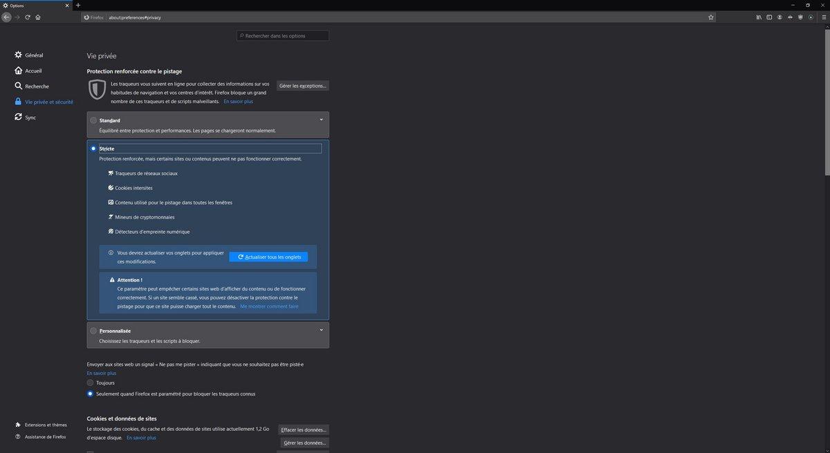 Firefox pistage © Capture d'écran