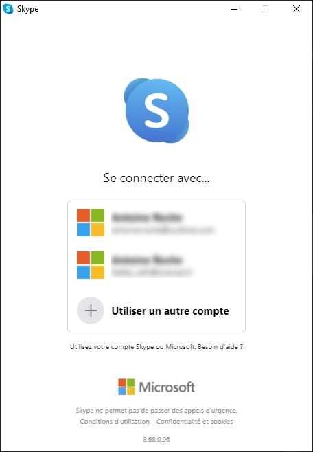 Skype compte © Capture d'écran
