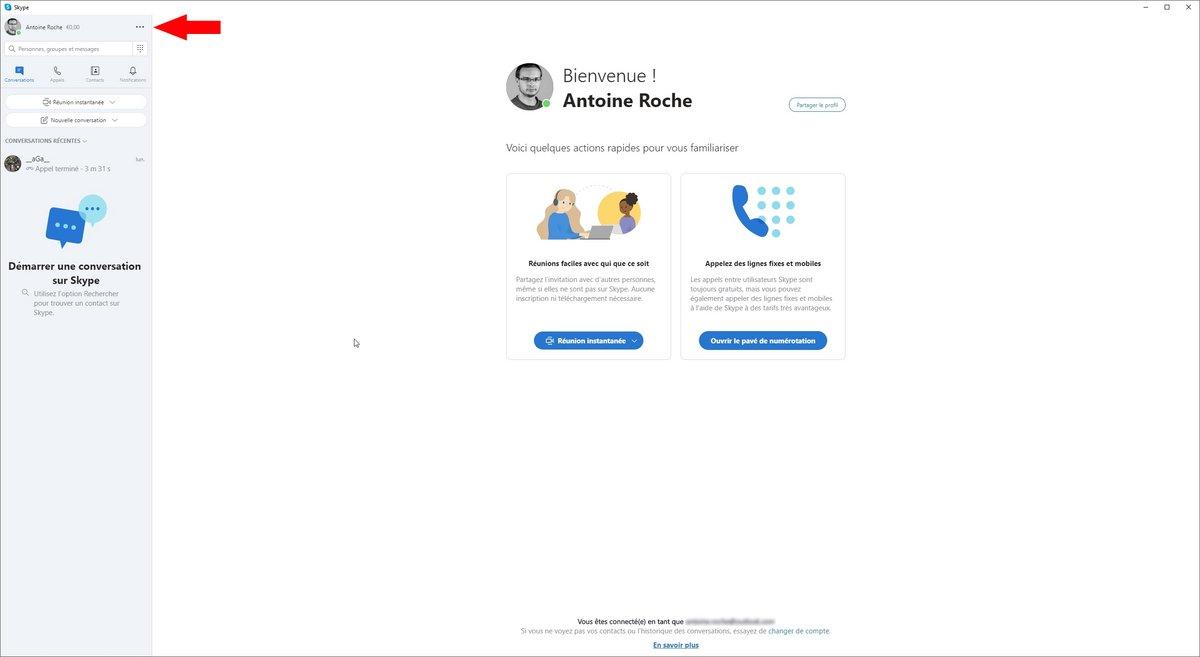 Skype options © Capture d'écran