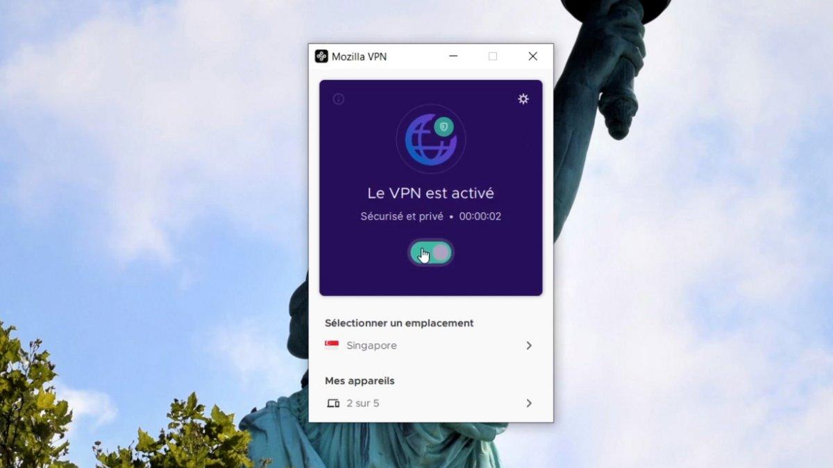 Mozilla VPN activation © Alexandre Boero pour Clubic