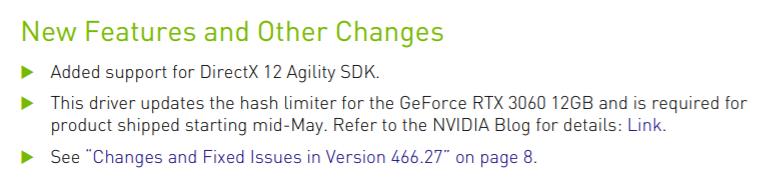 Pilotes GeForce Hash rate limiter © NVIDIA