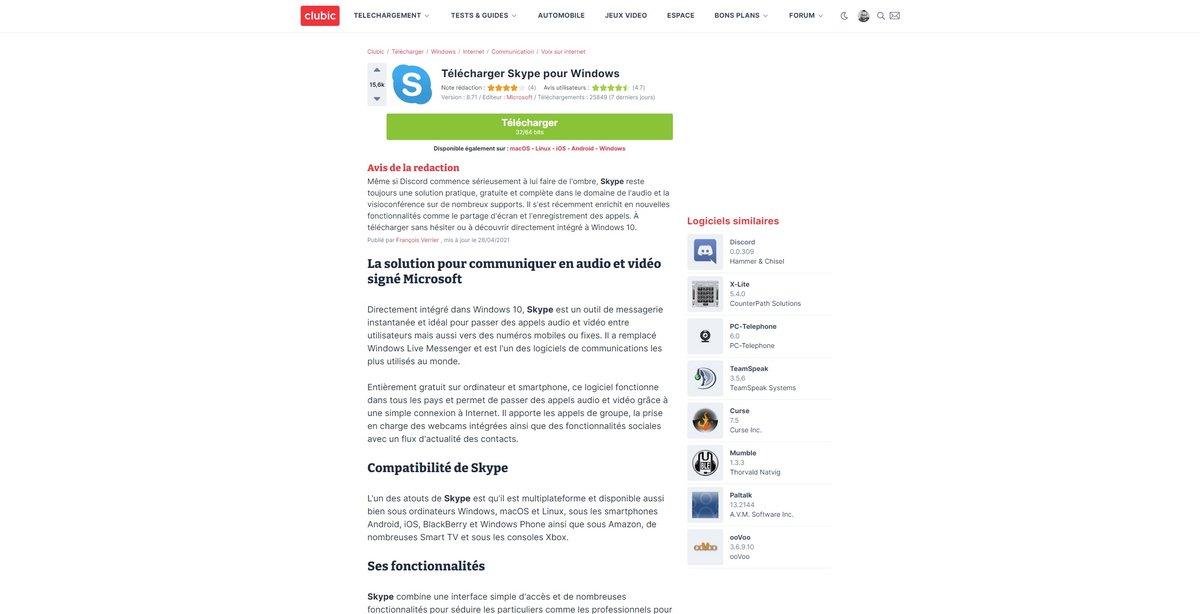 Skype télécharger Clubic © Capture d'écran