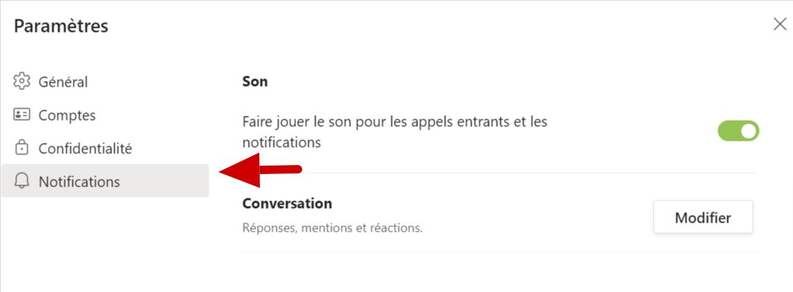 Microsoft Teams notifications