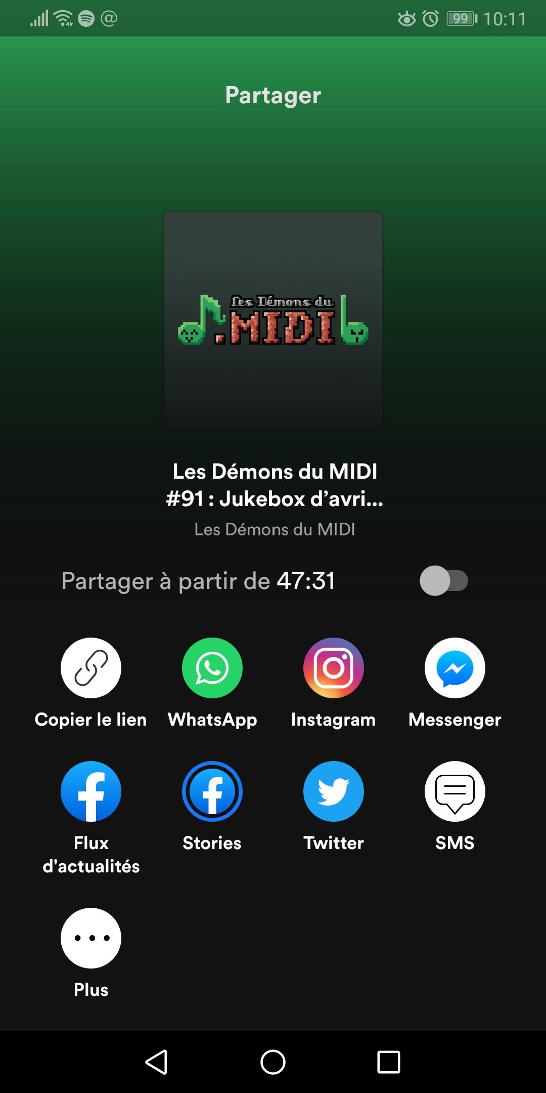 Spotify share © Capture d'écran