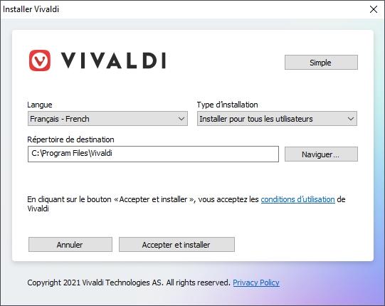 Vivaldi install © Capture d'écran