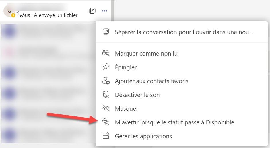 Microsoft Teams Notification changement de statut