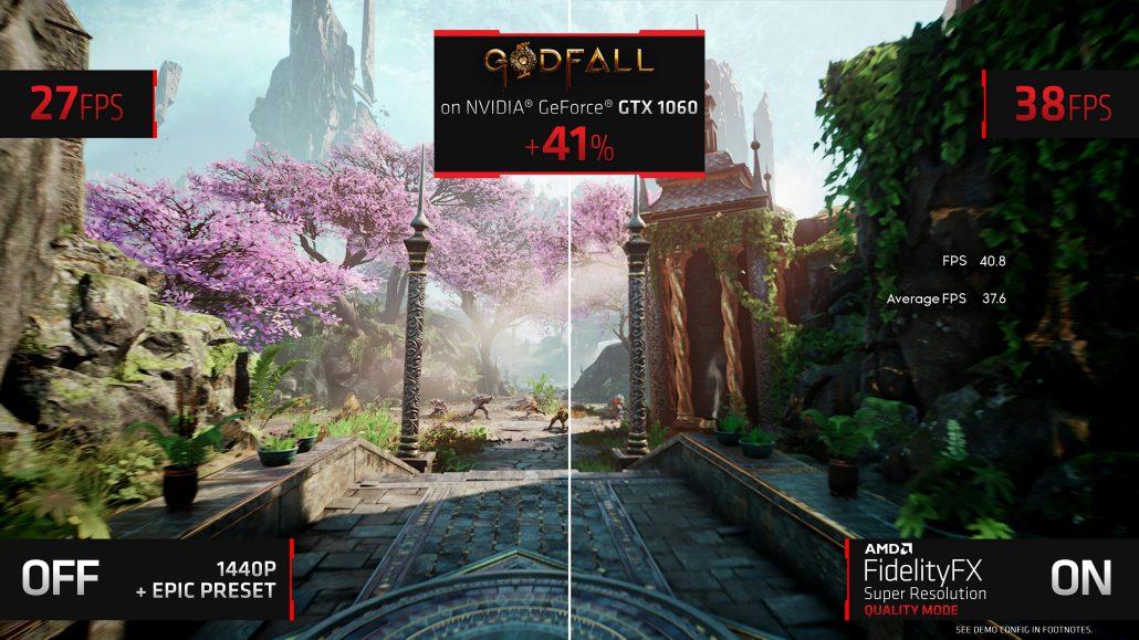 AMD FSR Godfall GTX 1060 © AMD