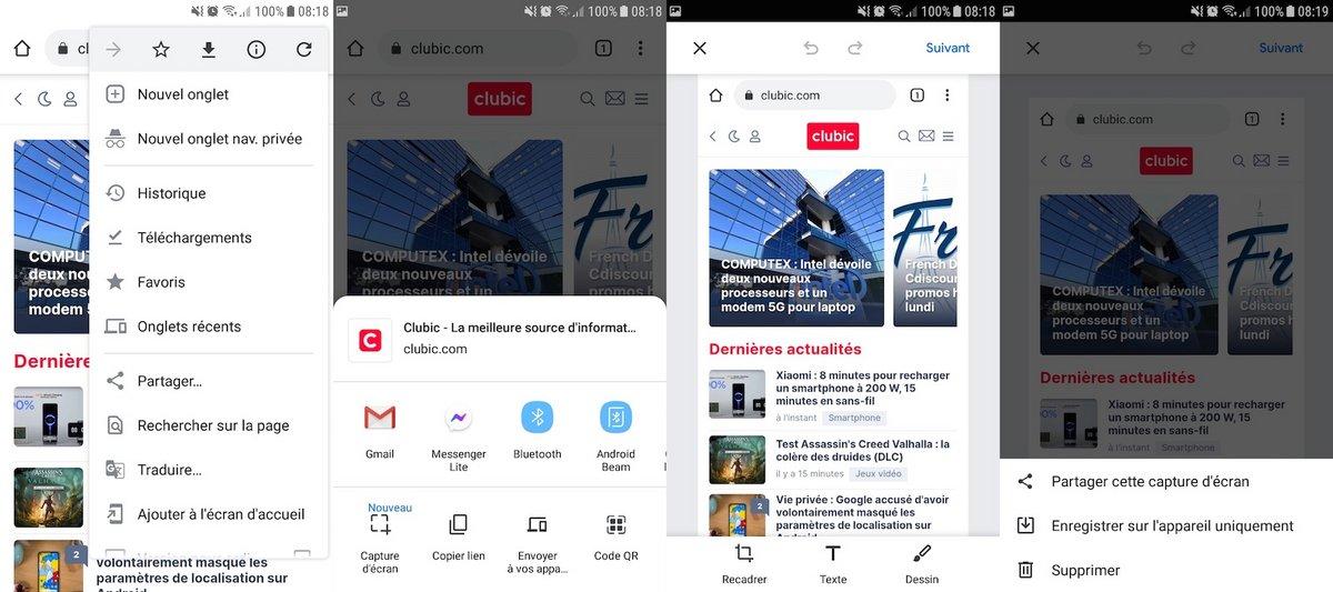 capture Chrome avec Android
