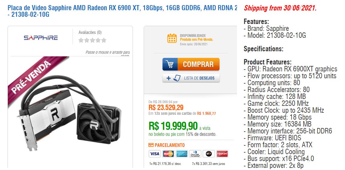 Sapphire AMD Radeon RX 6900 XTX © Kabum