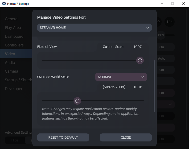 SteamVR Personnalisation de rendu par application © Valve