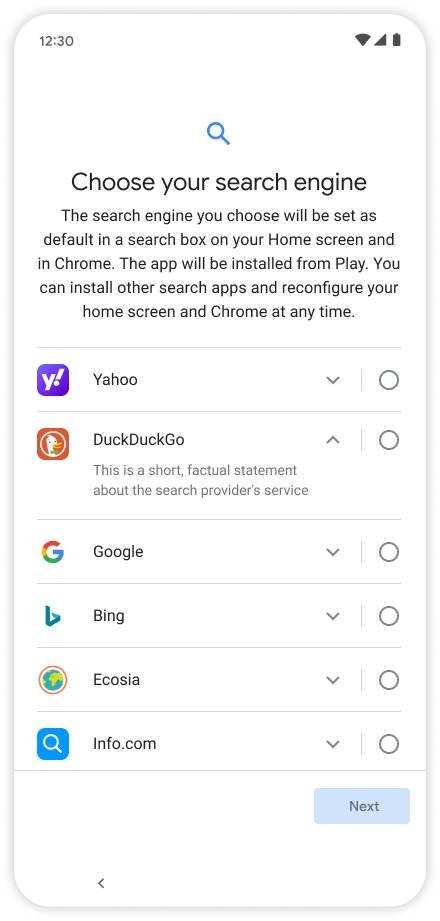 Écran des choix sur Android © Google