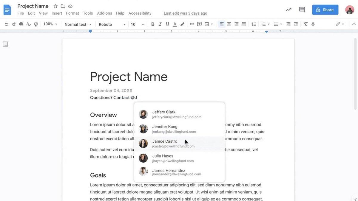 Google Doc © Capture Google Workspace