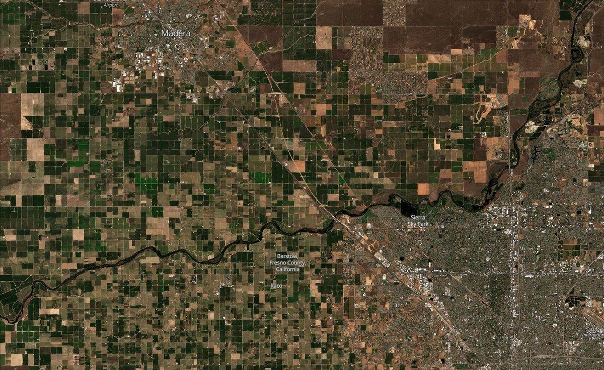 Sécheresse farwest américain Madera Fresno 2019 © Copernicus/Sentinel Hub