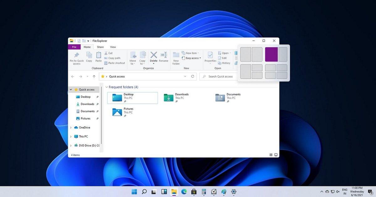 Windows 11 - Ancrage des fenêtres © Windows Latest
